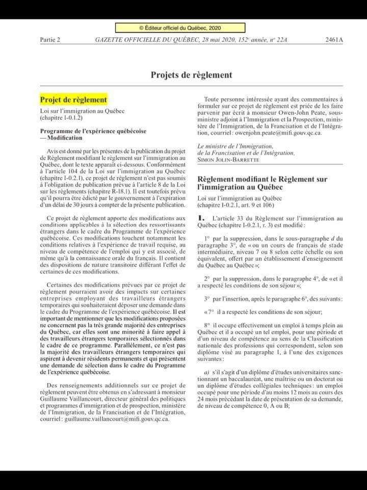 réforme du PEQ Québec